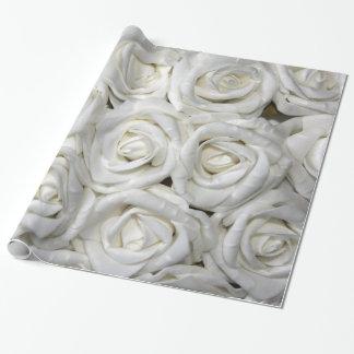 Floral élégant abstrait de jardin de roses blancs papier cadeau