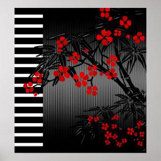 Floral en bambou blanc noir rouge asiatique posters