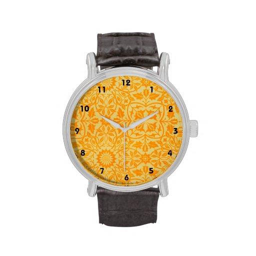 Floral en orange et or montres cadran