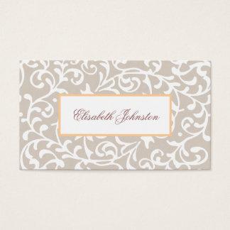 Floral féminin de damassé neutre élégante de ton cartes de visite