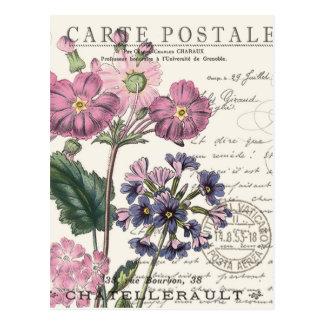 floral français vintage moderne carte postale