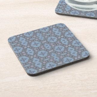 Floral géométrique vintage dans gris et bleu-clair sous-bock