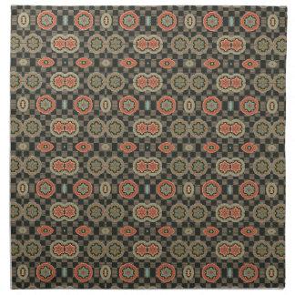 Floral géométrique vintage sur des contrôles serviette imprimée