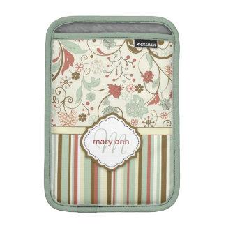 Floral Girly vintage de monogramme de damassé Housse Pour iPad Mini