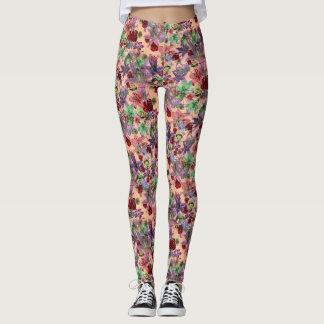 Floral grunge (pêche) leggings
