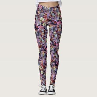 Floral grunge (rose foncé) leggings