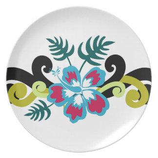 Floral hawaïen assiettes en mélamine