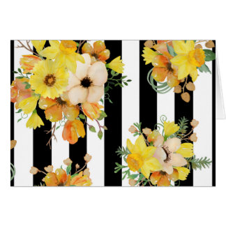Floral jaune audacieux sur des rayures cartes