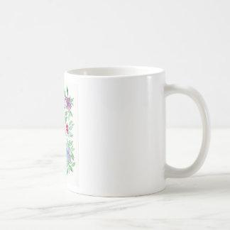 Floral libre - verdure bleue, pourpre, verte de mug