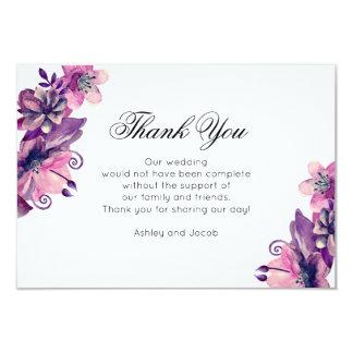Floral merci. Mariage pourpre. Note de fleurs Carton D'invitation 8,89 Cm X 12,70 Cm