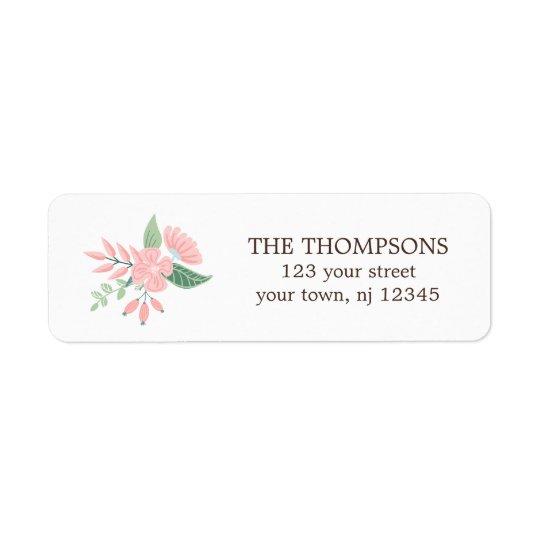 Floral moderne étiquette d'adresse retour