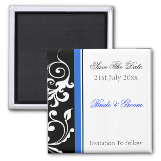 Floral noir et blanc avec des économies de bleu la magnets pour réfrigérateur