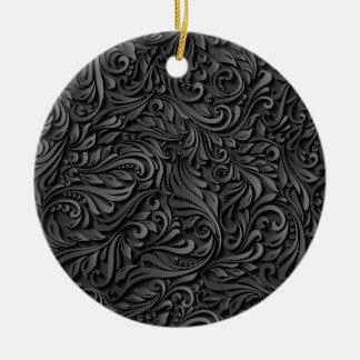 Floral noir ornement rond en céramique