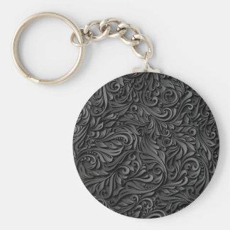 Floral noir porte-clé rond
