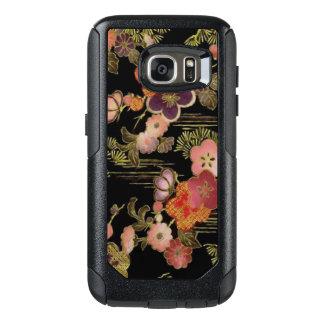 Floral noir vintage du Japon Coque OtterBox Samsung Galaxy S7