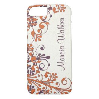 Floral pourpre orange personnalisé coque iPhone 7
