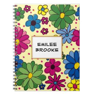 Floral pourpre vert-bleu jaune personnalisé mignon carnets