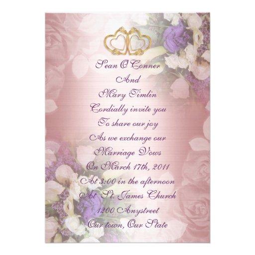 floral romantique de faire part de mariage carton d 39 invitation 12 7 cm x 17 78 cm zazzle. Black Bedroom Furniture Sets. Home Design Ideas