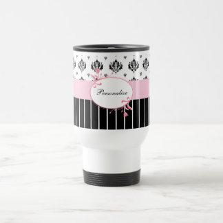 Floral rose chic de damassé noire et blanche avec mug de voyage en acier inoxydable