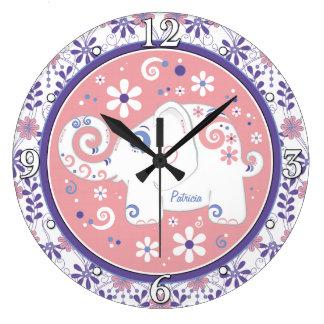 Floral rose pourpre d'objet superflu personnalisé grande horloge ronde