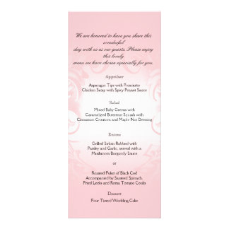 Floral rougissent le menu vintage rose de mariage