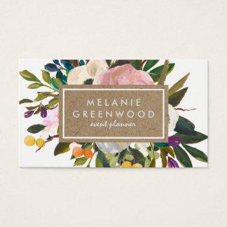 Floral rustique vintage cartes de visite