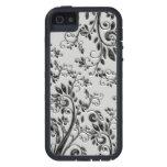 Floral tourbillonnant noir de relief coques iPhone 5