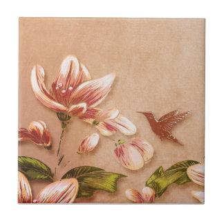 Floral vintage d'azalées roses sur le mariage de petit carreau carré