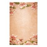 Floral vintage d'azalées roses sur le mariage de w motifs pour papier à lettre