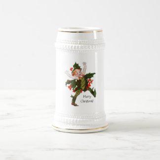 Floral vintage mignon d'enfant de fleur de Noël de Chope À Bière
