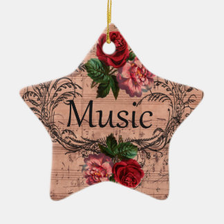 Floral vintage pour l'amour de la musique ornement étoile en céramique