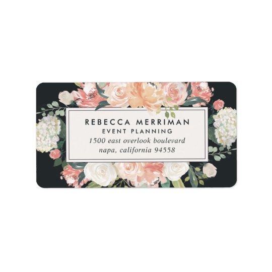 Floraux antiques rougissent et l'adresse de retour étiquette d'adresse
