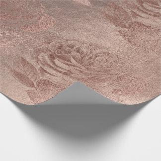 Floraux métalliques en pastel d'or de rose de papier cadeau noël