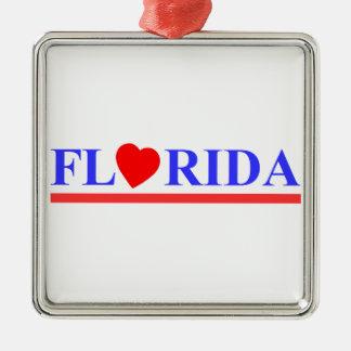 Florida coeur rouge ornement carré argenté
