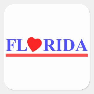 Florida coeur rouge sticker carré