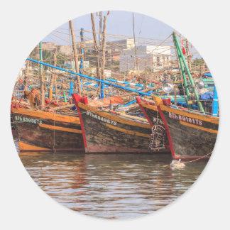 Flotte de pêche sticker rond