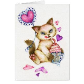 Flotteur de fraise - carte siamoise d'art de chat