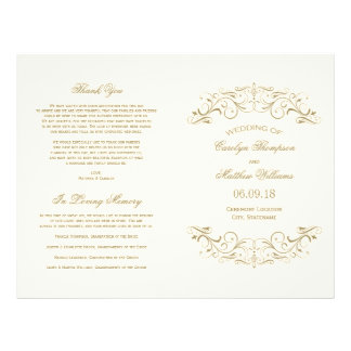 Flourish antique d'or des programmes   de mariage prospectus 21,6 cm x 24,94 cm
