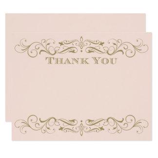 Flourish antique d'or du carte de remerciements |