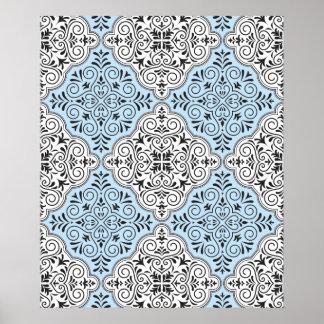 Flourish bleu de motif de rococos posters