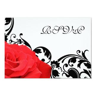 Flourish de noir de rose rouge épousant la carte carton d'invitation 8,89 cm x 12,70 cm