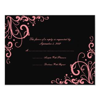 Flourish de rose et de noir épousant RSVP Carton D'invitation 10,79 Cm X 13,97 Cm