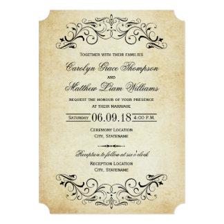 Flourish élégant vintage des invitations | de carton d'invitation  12,7 cm x 17,78 cm
