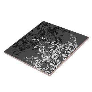 Flourish floral noir et blanc carreau