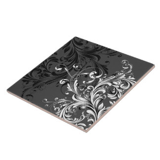 Flourish floral noir et blanc grand carreau carré