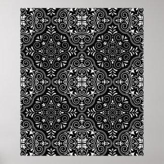 Flourish noir de motif de rococos posters