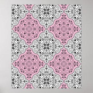 Flourish rose de motif de rococos posters