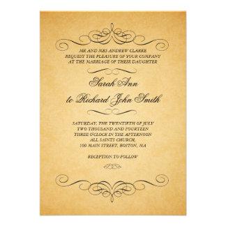 Flourish vintage de remous d invitations de mariag