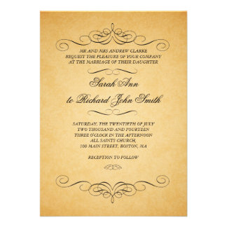 Flourish vintage de remous d'invitations de mariag