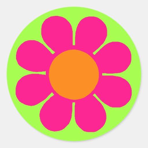 Flower power adhésif rond